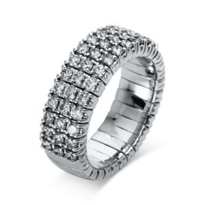 Ring 4er-Krappe 18 kt WG, Flex-Band, variabel, rhodinier