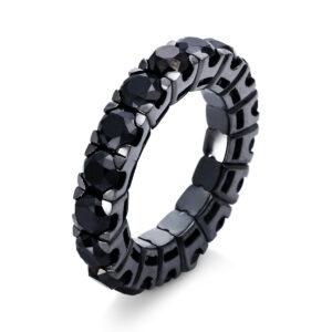 Ring 4er-Krappe 18 kt WG, Flex-Band, variabel, schw.rhod