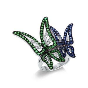 """Ring 18 kt WG """"Schmetterling"""", Fassung teils schwarz rhodini"""