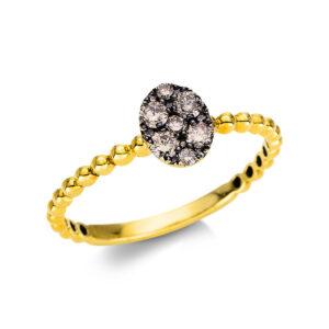 Ring 18 kt GG, Fassung schwarz rhodiniert